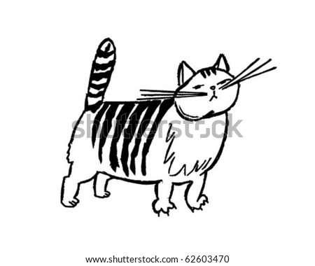 Striped Cat - Retro Clipart Illustration