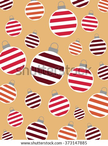 Striped christmas bulbs over solid tan background - stock vector