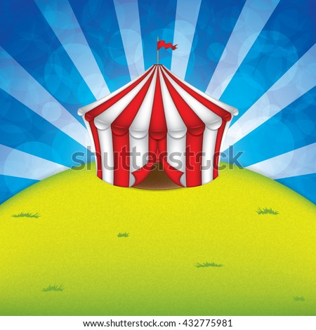 Striped circus tent on a green meadow. Vector. - stock vector