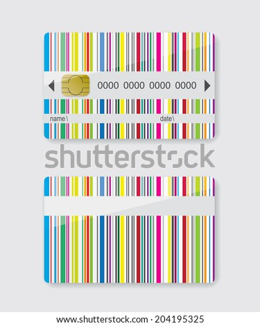 Striped credit card - stock vector