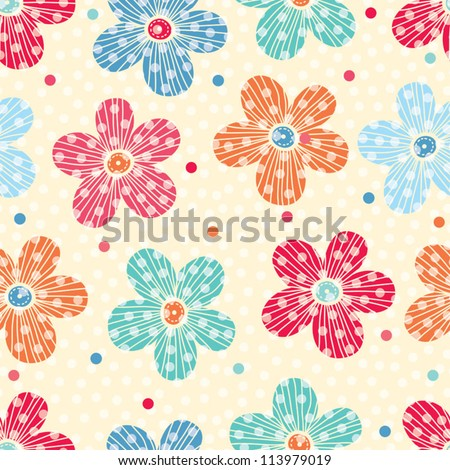 Striped flowers  Seamless pattern can be used for wallpaper, pattern fills, web page background, surface textures. - stock vector