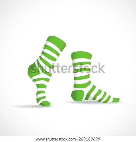 Striped green socks, illustration - stock vector