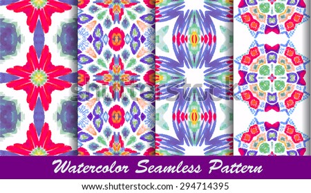 Striped hand painted vector set seamless pattern with ethnic and tribal motifs, zigzag lines, brushstrokes and splatters of paint in multiple bright colors. Vector illustration. - stock vector