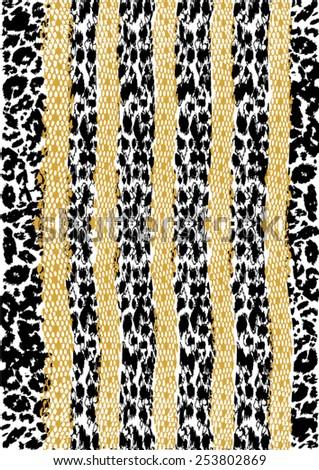 Striped leopard print - stock vector