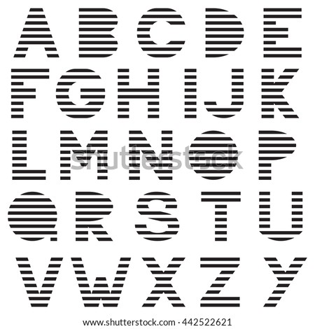 striped modern letters black on white stock vector royalty free