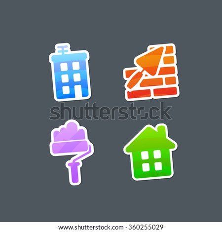Striped Multicolored Stickers Construction Icons. Vector Illustration. - stock vector