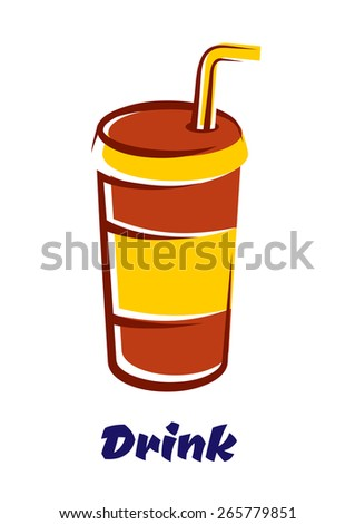 Striped paper fast food cup for cold beverage with lid and drinking straw in cartoon style isolated on white background with caption Drinks - stock vector