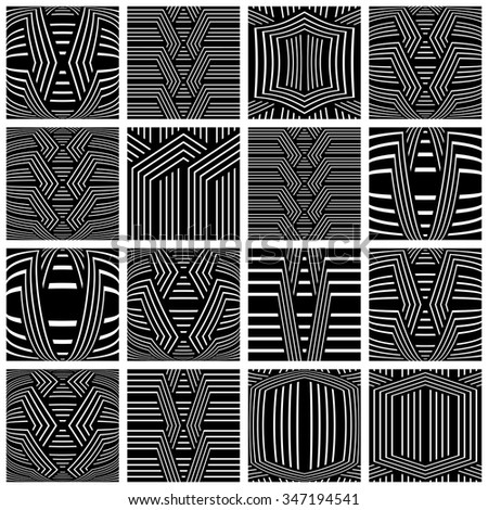 Striped patterns set. Design elements. Vector art. - stock vector