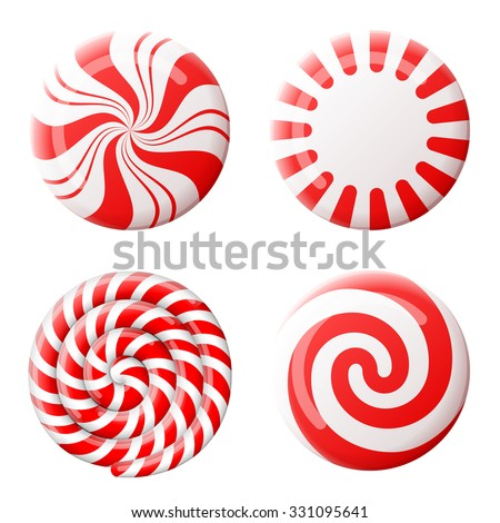 Striped peppermint candies without wrapper. Qualitative vector design element for christmas, new year's day, winter holiday, dessert, new year's eve, food, silvester, etc - stock vector