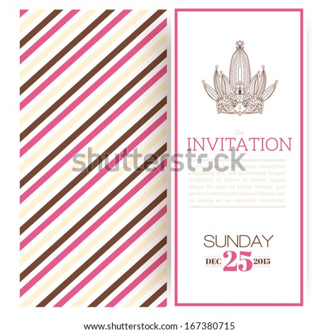 Macrovectors cards frames and invitations in vector set on striped princess invitation template vector illustration stopboris Image collections