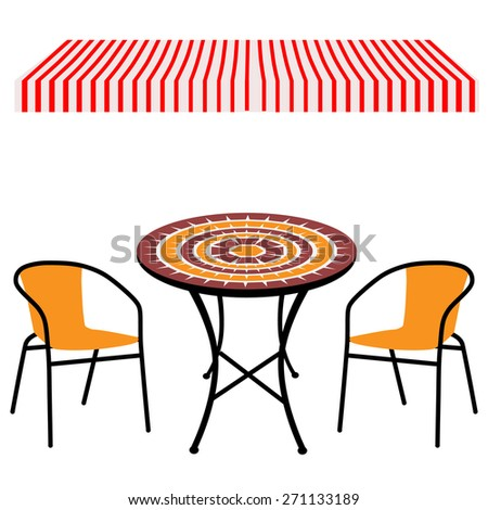 Striped red and white shop window awning and vintage outdoor table and chairs.Round table and chairs vector - stock vector