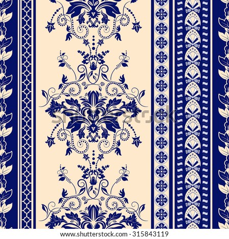Striped seamless pattern. Blue floral wallpaper. Damask background  - stock vector