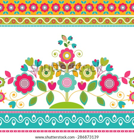 Striped seamless pattern. Floral wallpaper, decorative border - stock vector