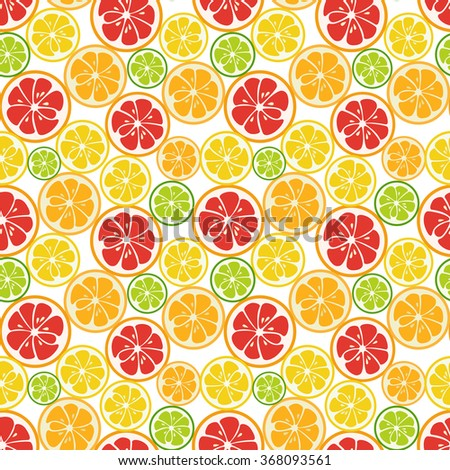 Striped seamless pattern with lime, orange and grapefruit. Tasty summer background. Yummy tropical fruits endless texture. Can be used for wallpapers, banners, posters. Vector illustration