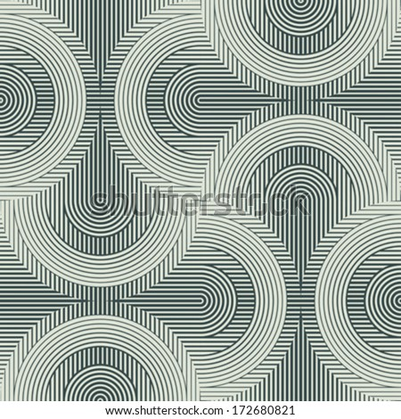 Striped semi-discs ornament. Seamless pattern. Vector. - stock vector