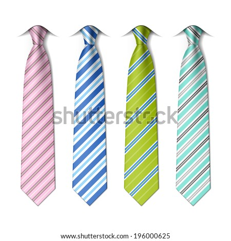 Striped silk ties template.  Easy editable colors - vector. - stock vector