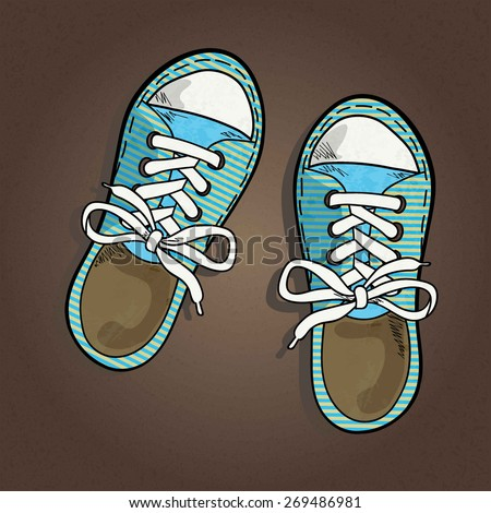 striped sneakers with white lake isolated on brown textured background, sketch, vector illustration - stock vector