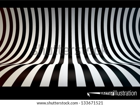 Striped studio backdrop, empty space for your text or object - stock vector