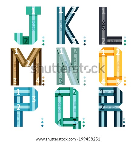 Striped uppercase vector font with alphabet letters and number options and stripes for use in infographics  part of a series of three sets being j-k-l-m-n-o-p-q-r - stock vector