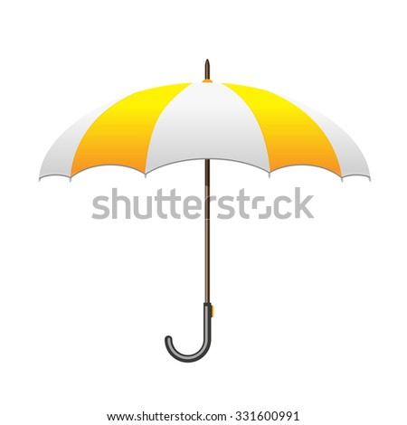 Striped white and yellow Umbrella. Care and protection from rain - stock vector