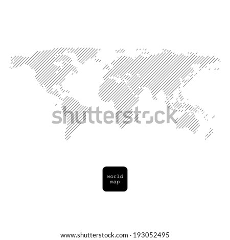 Striped world map isolated on white - stock vector