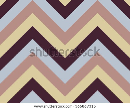 Striped, zigzagging seamless pattern. Zig-zag line texture. Stripy geometric background. Blue, brown,beige contrast colored. Winter theme. Vector - stock vector
