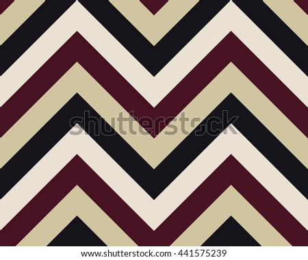 Striped, zigzagging seamless pattern. Zig-zag line texture. Stripy geometric background. White, brown, beige, vinous contrast colored. Vector - stock vector