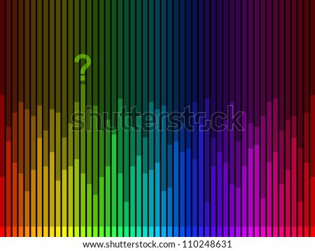 Stripes in rainbow colors on a black background with a question mark