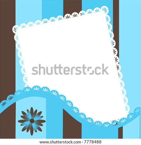 Stripped border for picture with flower,vector(2 custom brushes in eps) - stock vector