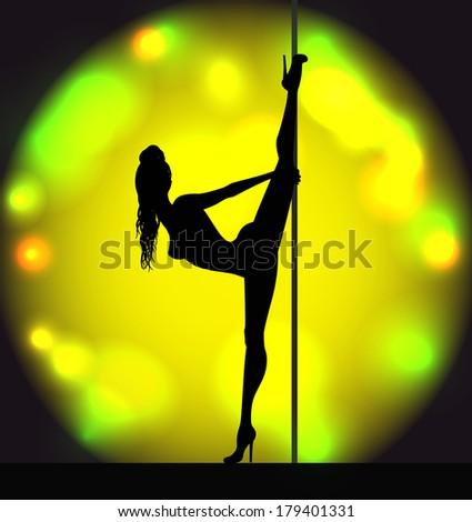 Striptease girl silhouette near a pole - stock vector