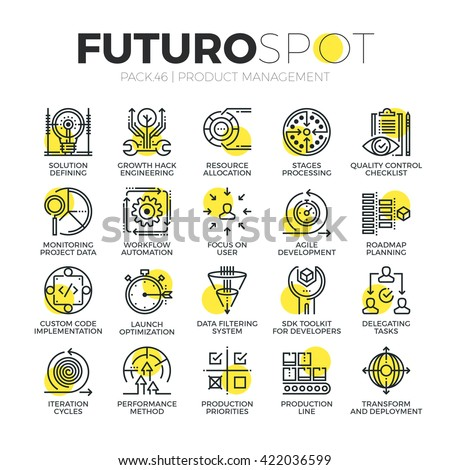 Stroke line icons set of agile product management, project workflow process Modern flat linear pictogram concept Premium quality outline symbol collection Simple vector material design of web graphics - stock vector