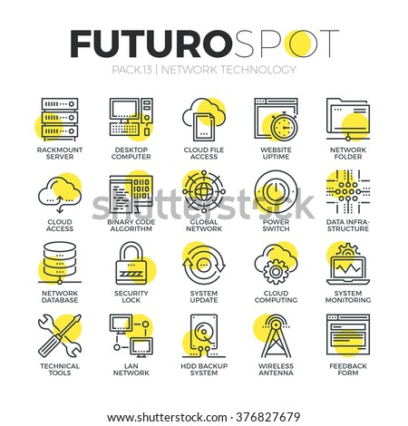Stroke line icons set of cloud network connection, internet data security. Modern flat linear pictogram concept. Premium quality outline symbol collection. Simple vector material design, web graphics. - stock vector
