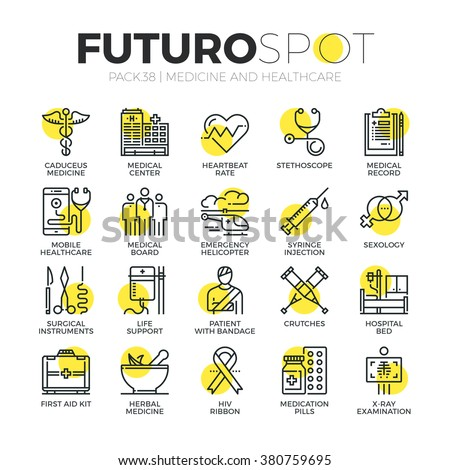 Stroke line icons set of healthcare professionals and medical equipment. Modern flat linear pictogram concept. Premium quality outline symbol collection. Simple vector material design of web graphics. - stock vector