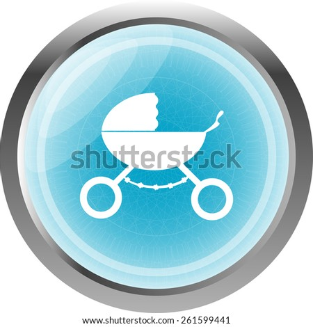 stroller web icon isolated on white - stock vector