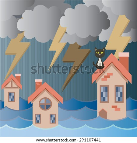strom thunder flood rain to village cartoon vector - stock vector