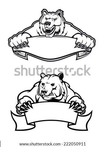 Strong angry bears with banners, isolated on white, for tattoo, wildlife and mascot design - stock vector