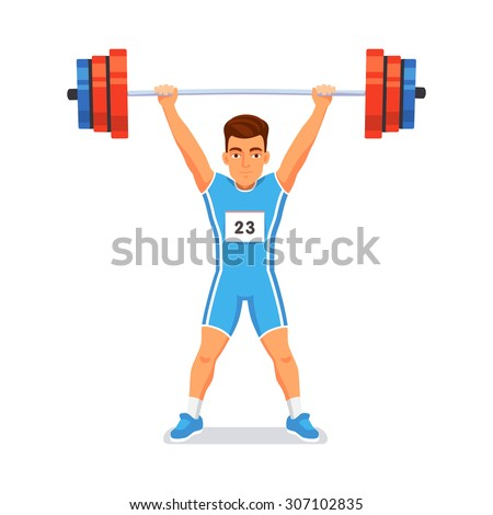 Strong bodybuilder sportsman lifting heavyweight barbell over his head. Weightlifting sport. Flat style vector illustration isolated on white background. - stock vector