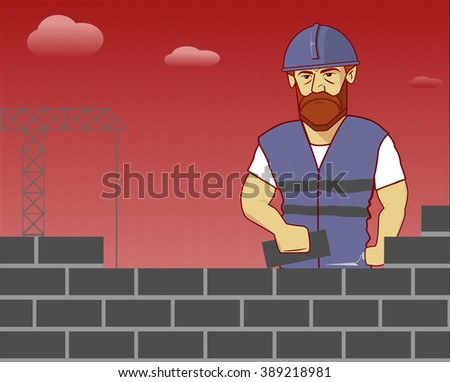 strong builder in overalls and helmet lay brick on the crane and the sky