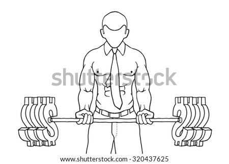 strong businessman lifts up heavy barbell with dollar sign. Creative cartoon vector illustration for business financial strength concept. - stock vector