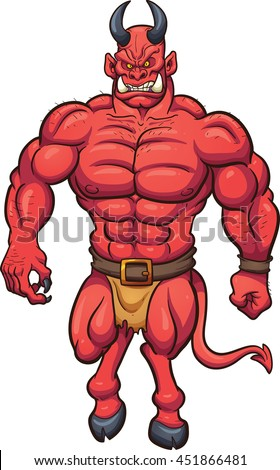 Strong cartoon demon. Vector clip art illustration with simple gradients. All in a single layer.