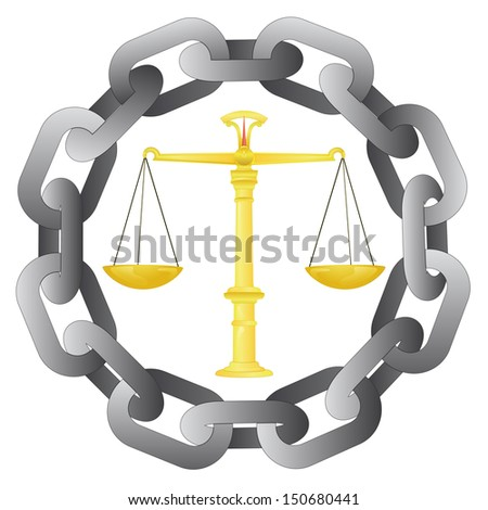 strong chain protect our liberty and justice vector illustration