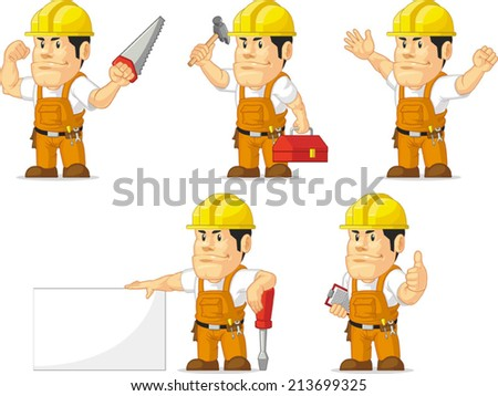 Strong Construction Worker Mascot - stock vector