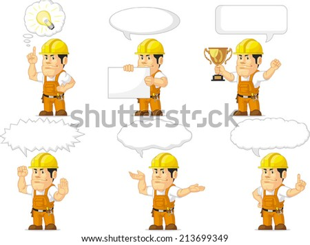 Strong Construction Worker Mascot 13 - stock vector