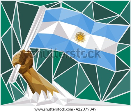 Strong Hand Raising The Flag Of Argentina - stock vector