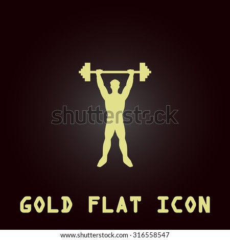 Strong Man Gold Flat Vector Icon Stock Vector 316558547 Shutterstock