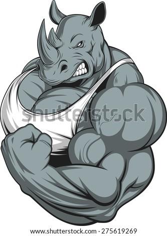 Strong rhinoceros - stock vector