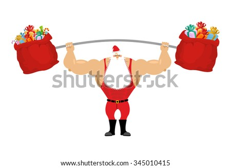 Strong Santa Claus holding barbell and gift bag. Sports for Christmas with beard. Red sack with gifts for aggravation of  rod. Powerful man in sport suit.