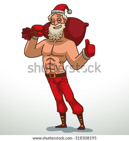 Strong Santa Claus with bag, funny cartoon illustration, vector - stock vector