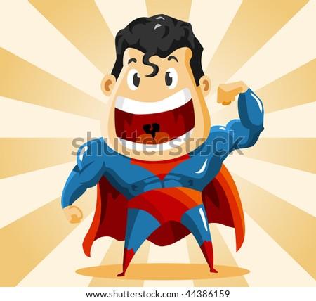 Strong Super Hero. Detailed vector Illustration. - stock vector