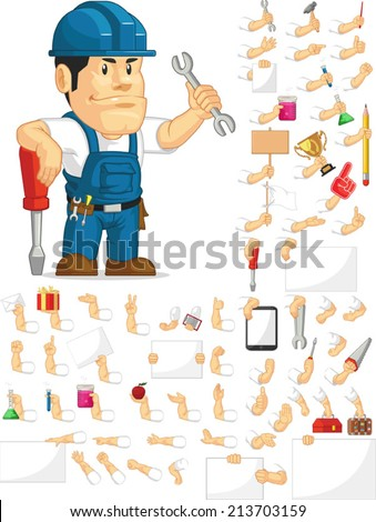 Strong Technician Customizable Mascot Set - stock vector